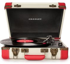 #hometv #sanyo Designed to reflect the styling's of yesteryear, the #Crosley Executive USB Portable Turntable easily takes your favorite vinyl and converts them ...