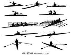 aviron, silhouettes Voir Clipart Grand Format