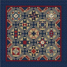 2016 Riley Blake Americana Block of The Month Sewing Class, Sewing Studio, Quilting Projects, Quilting Designs, New Americana, Wool Mats, Quilt Of Valor, Patriotic Quilts, How To Finish A Quilt