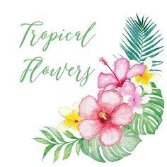 Watercolor Tropical clipart vector  by designloverstudio on Etsy
