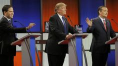 Presidential contender Donald Trump has come under attack from his rivals at a Republican debate, after a day in which the party's veteran politicians urged voters to desert him.