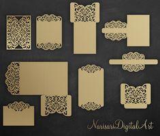Laser cut wedding invitation Set Cricut Template Gate Fold