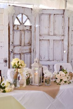 Vintage cottage style wedding decor for the reception