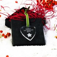 Engraved Heart Star 1st Christmas Decoration