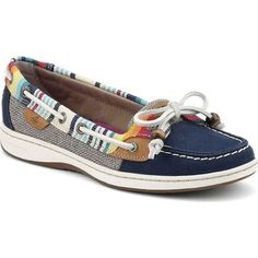 Sperry Women's Serape Trimmed Angelfish Navy/Serape Performance... ($85) ❤ liked on Polyvore featuring shoes, loafers, blue, sperry top-sider shoes, sperry top-sider, navy blue shoes, top sider shoes and blue deck shoes
