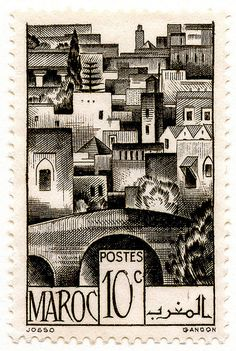 Postage stamp from Morocco . Old Stamps, Rare Stamps, Vintage Stamps, Postage Stamp Design, Mail Art, Stamp Collecting, Vintage Posters, Illustration, Marrakech