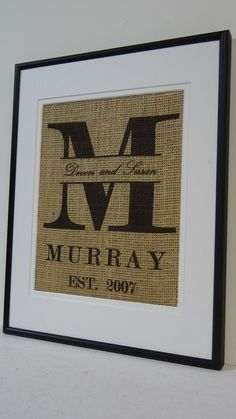 Burlap Monogram with Name and Est. Date for Engagement and Wedding Gifts, Home Decor, etc.. $20.00, via Etsy.