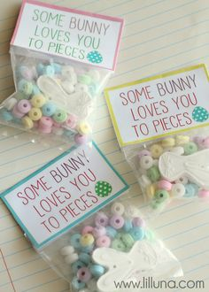 Some Bunny Loves You to Pieces! Cute Easter favors. Candy necklace taken apart.