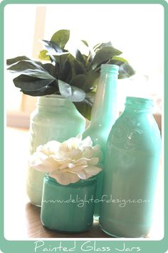 Tips for painting your own Painted Glass Jars:delightofdesign.com