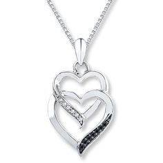 Black White Diamonds 1/15 ct tw Necklace Sterling Silver - Polyvore