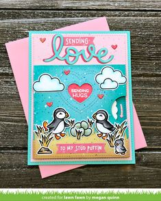 These little puffins can't wait to brighten your day! This mini stamp set is great for Valentine's Day, year-round I Love you cards, or anyone who loves puffins. inch clear stamp set with coordinating die set. Megan Quinn, Pop Up, Lawn Fawn Blog, Happy Hearts Day, Lawn Fawn Stamps, Sending Hugs, Valentine Day Cards, Valentines, Valentine Ideas