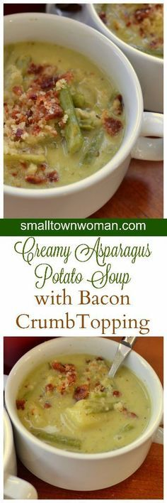 This Creamy Asparagus Potato Soup is bursting with fresh asparagus, baked russet potatoes, cream and garlic. It is topped with a three ingredient bacon crumb topping that is out of this world delicious. Creamed Asparagus, Fresh Asparagus, Recipe For Asparagus Soup, Russet Potatoes, Soup Recipes, Dinner Recipes, Cooking Recipes, Rice, Asparagus