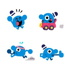 A set of animated chat app stickers for Link Messenger. Character Illustration, Graphic Illustration, Character Concept, Character Art, Cute Monsters Drawings, Kids Graphic Design, Posca Art, David Carson, Design Brochure