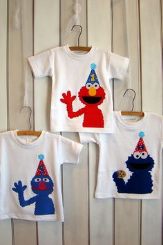 Or maybe Grover? Custom Sesame Grover Birthday Shirt. by MyLittleTee on Etsy, $20.00