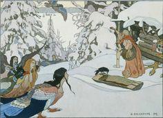 Билибин Иван Яковлевич (Россия, 1876-1942) «Баба-Яга и девы-птицы» - «Впечатления дороже знаний...»