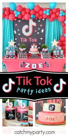 Tik Tok Birthday Zoe S Tiktok Party Catch My Party Birthday Surprise Party Minion Birthday Party Girls Birthday Party Themes