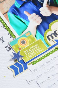 Mr. Smarty layout by Leanne Allinson  Supplies: Hampton Art:  stamps: Jillibean Soup | Irish Farm House Soup (jb0014); Echo Park | Bundle of Joy: Boy (SC0527)  ink: Archival Ink (Jet Black); Colorbox | Turtle  paper: Jillibean Soup | Soup Staples II, Sight Seeing Stew  Jillibean Soup: Pea Pod Parts  other: white cardstock, typewriter, foam tape.