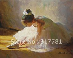 Fine Art Original Oil Painting Reproduction on Canvas Ballerina Ballet Dancer Checking Her Shoes $115.64 - 233.24