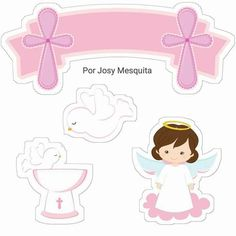 Nice Girl Free Printable Cake Toppers for First Communion. Here you have some Free Printable Cake Toppers for your Girl First Co. Free Printable Invitations, Free Printables, Communion Centerpieces, Deco Baby Shower, Dots Free, Candy Bar Labels, First Communion Party, Scrapbooking Freebies, Baby Boy Scrapbook