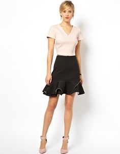 ASOS Scuba Peplum Hem Mini Skirt in mono, $72.60
