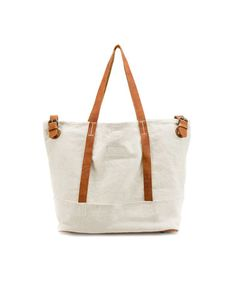 CANVAS SHOPPER WITH LEATHER HANDLES – Zara – £49.99