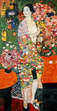 """The Dancer was one of Klimt's last paintings and was completed between 1916 and 1918 as an oil on canvas. Klimt was fascinated with """"oriental"""" culture. The Dancer is a wonderful, colorful vision. Art Klimt, Art Nouveau, Baumgarten, Art Plastique, Oeuvre D'art, Japanese Art, Art History, Illustration, Modern Art"""