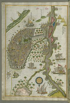 Illuminated Manuscript Map of Cairo, from Book on Navigation, Walters Ms. W.658, fol. 305b   Flickr - Photo Sharing!