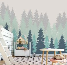 Forest Tree Removable Wallpaper ,Woodland Wall Decor, Nursery Sticker Pack,Wall Papers, Colorful Wall Decals,  #13WP