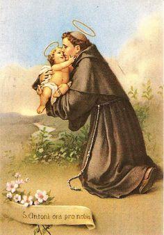 Saint Antony, Saint Anthony Of Padua, Man And Dog, Orisha, Catholic Prayers, Sacred Art, Happy Kids, Saints, Painting