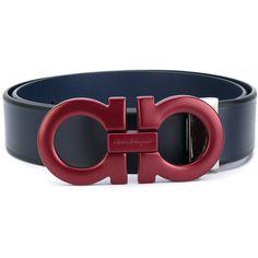 Salvatore Ferragamo logo belt (1.290 BRL) ❤ liked on Polyvore featuring men's fashion, men's accessories, men's belts, blue, mens blue belt and salvatore ferragamo mens belt