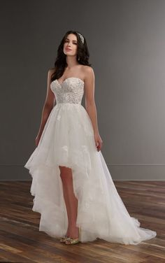 810 Strapless high-low wedding dress by Martina Liana
