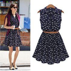 Lady's Casual Sleeveless Sweet turn-down collar Summer Elegant Women Dress #Brand