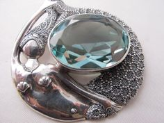Extraordinary Large Vintage Signed Sajen Sterling Silver Mermaid Pendant Pin with Bale for Necklace