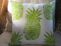 beach decor lime pineapple pillow