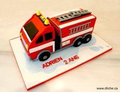 Firetruck cake for Adrien's birthday!  Gâteau camion de pompier pour la fête à Adrien!