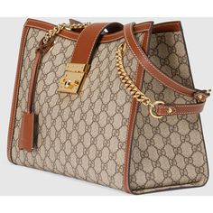 Gucci Padlock Gg Supreme Canvas Shoulder Bag (€1.525) ❤ liked on Polyvore featuring bags, handbags and shoulder bags