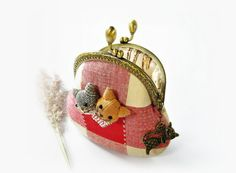 Coin purse cat purse metal frame purse embroidery by DooDesign, $26.90