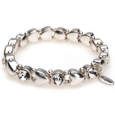 Pilgrim Silver Stretch Bracelet with Hearts and Crystals - Lizzielane.com