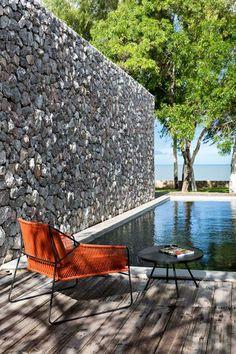 piscine et muret