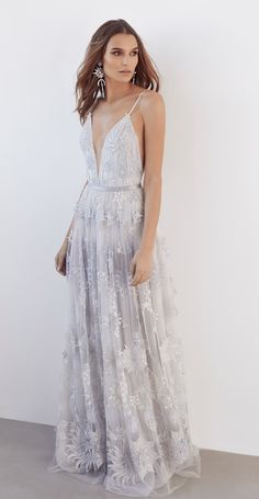 Suzanne Harward Stars & Moons Gown Embroidered tulle and stretch tulle lace gown with bodysuit, plunge bodice, shoe string straps and a-line skirt Gala Gowns, Gala Dresses, Bridal Dresses, Designer Wedding Dresses, Wedding Gowns, Wedding Blog, Wedding Ideas, Wedding Things, Dream Wedding