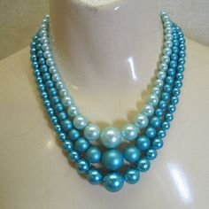 1960's Three Strand Blue Pearl PROJECT Necklace by PandPF on Etsy