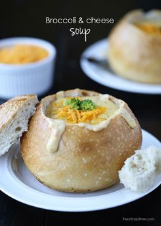 Delicious Broccoli and Cheese Soup,should make this again sometime.our family always loved homemade bread bowls
