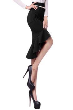 Super CUTE! Super Sexy! Love this Skirt! Slim Black Ruffled Fish Tail Skirt #Sexy #Ruffled #Black #Fall #Winter #Fashion