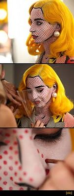 I would love to do this for Halloween some year. A Lichtenstein girl! I think I'd do a wig, though!