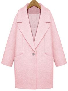 Pink Lapel Single Button Loose Woolen Coat 59.23