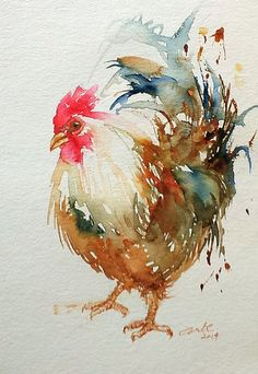 Rooster White Original Art 6x9 by artiart on Etsy