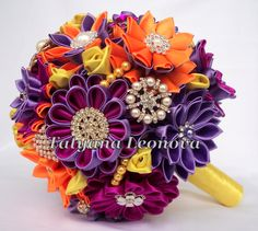 Fabric Wedding Bouquet Brooch bouquet fuchsia orange by LIKKO