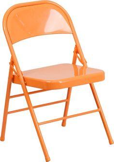 Flash Furniture HF3-ORANGE-GG HERCULES COLORBURST Series Orange Marmalade Triple Braced & Double Hinged Metal Folding Chair