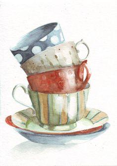 Original watercolor painting green red gold blue tea cups polka dots hearts stripes art