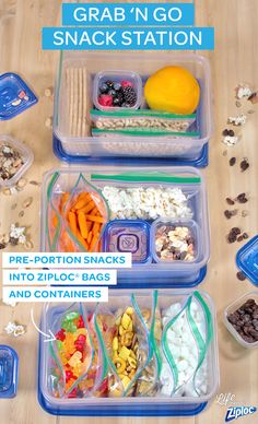 Stop grabbing unhealthy snacks for your lunch! Pre-portion your favorite foods into Ziploc® bags and containers (think healthy treats like yogurt or granola), and set it all up in an easy-to-grab spot. Great for after-work and after-school snack organization.